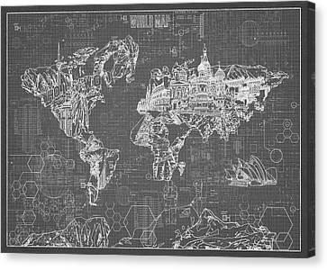 Canvas Print featuring the digital art World Map Blueprint 5 by Bekim Art
