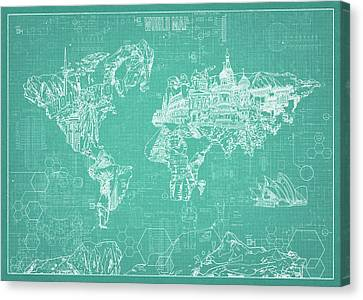 World Map Blueprint 7 Canvas Print
