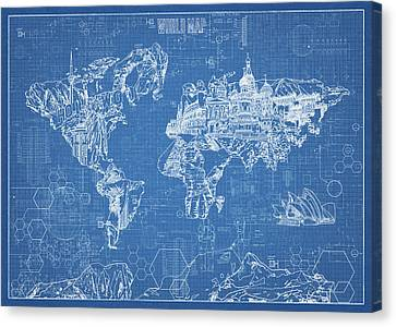 World Map Blueprint Canvas Print
