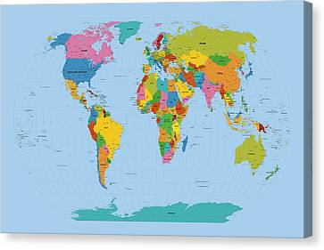 World Map Bright Canvas Print by Michael Tompsett