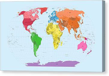 World Map Canvas Print - World Map Continents by Michael Tompsett