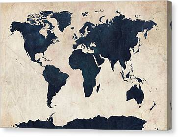 World Map Distressed Navy Canvas Print by Michael Tompsett