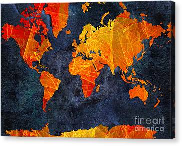 World Map - Elegance Of The Sun - Fractal - Abstract - Digital Art 2 Canvas Print