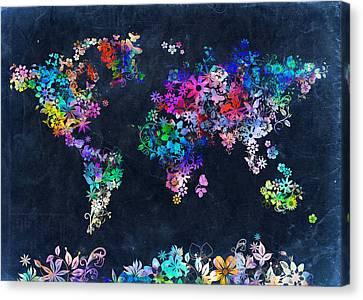 World Map Floral 10 Canvas Print by Bekim Art