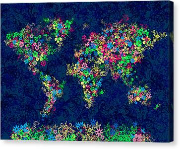 World Map Floral 11 Canvas Print