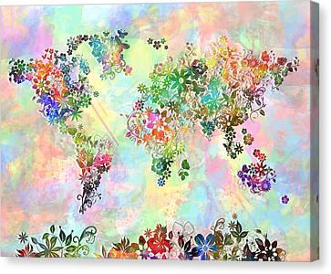 World Map Floral 3 Canvas Print