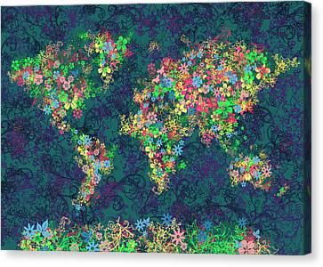 World Map Floral 4 Canvas Print