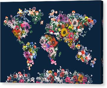 World Map Floral 7 Canvas Print
