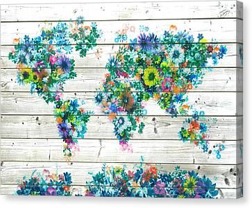 World Map Floral 9 Canvas Print