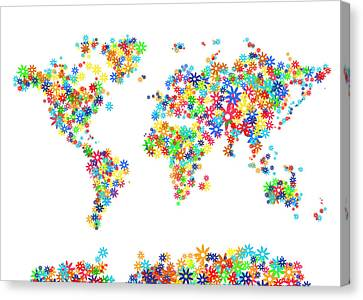 World Map Floral  Canvas Print