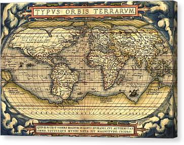 World Map From The Theatrum Orbis Terrarum 1570 Canvas Print by Pg Reproductions