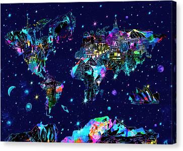 Stellar Canvas Print - World Map Galaxy 10 by Bekim Art