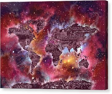 Stellar Canvas Print - World Map Galaxy 3 by Bekim Art
