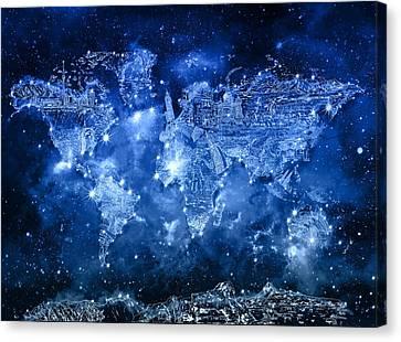 Stellar Canvas Print - World Map Galaxy 5 by Bekim Art