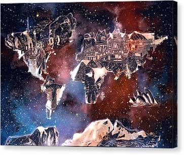Stellar Canvas Print - World Map Galaxy 6 by Bekim Art