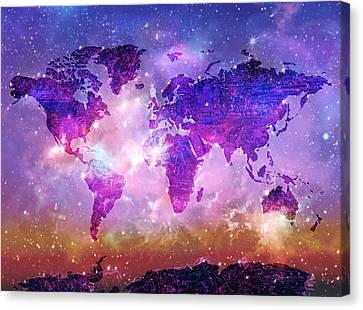 Stellar Canvas Print - World Map Galaxy 8 by Bekim Art