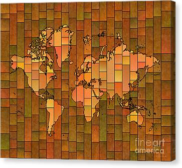 World Map Glasa Brown Orange Green Canvas Print