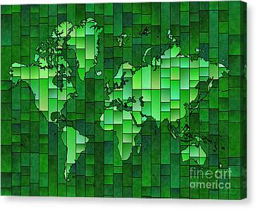 World Map Glasa Green Canvas Print