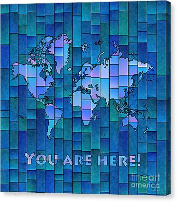 World Map Glasa You Are Here In Blue Canvas Print