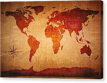 World Map Grunge Style Canvas Print