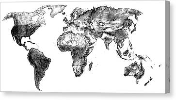 Canvas Print featuring the drawing World Map In Graphite by Heidi Kriel