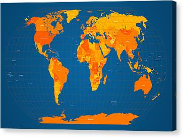 World Map In Orange And Blue Canvas Print by Michael Tompsett