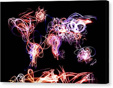 Writing Canvas Print - World Map Light Writing by Michael Tompsett