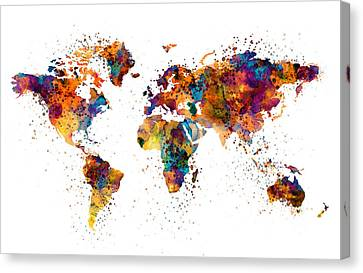Modern Digital Art Canvas Print - World Map by Marian Voicu
