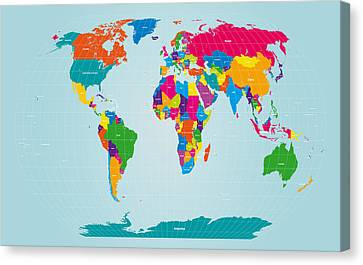 World Map  Canvas Print by Michael Tompsett