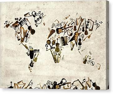 Canvas Print featuring the digital art World Map Music 1 by Bekim Art