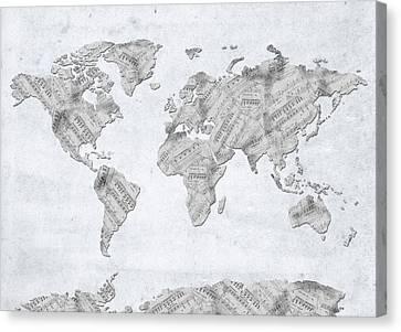 Canvas Print featuring the digital art World Map Music 10 by Bekim Art