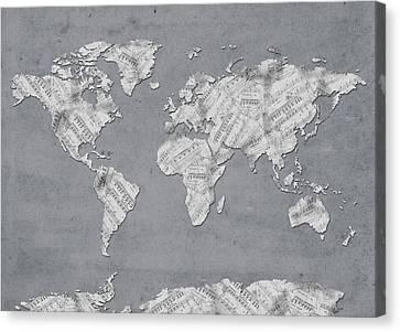 Canvas Print featuring the digital art World Map Music 11 by Bekim Art