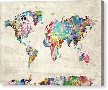 Canvas Print featuring the digital art World Map Music 12 by Bekim Art