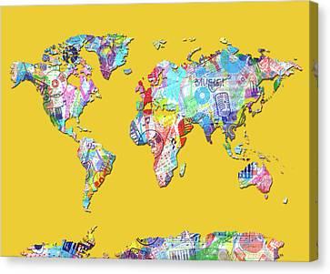 Canvas Print featuring the digital art World Map Music 13 by Bekim Art
