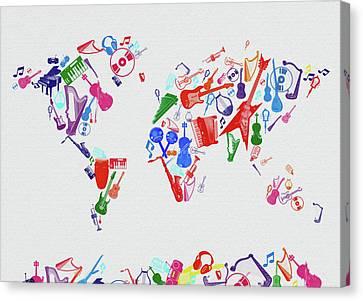 Canvas Print featuring the digital art World Map Music 3 by Bekim Art