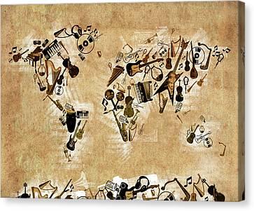 Canvas Print featuring the digital art World Map Music 4 by Bekim Art