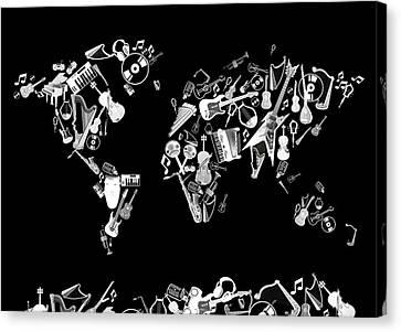 Canvas Print featuring the digital art World Map Music 5 by Bekim Art