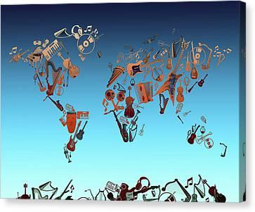 Canvas Print featuring the digital art World Map Music 6 by Bekim Art