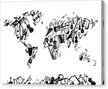 Canvas Print featuring the digital art World Map Music 7 by Bekim Art