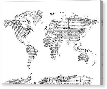 Canvas Print featuring the digital art World Map Music 8 by Bekim Art