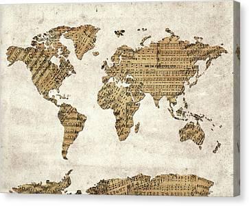 Canvas Print featuring the digital art World Map Music 9 by Bekim Art