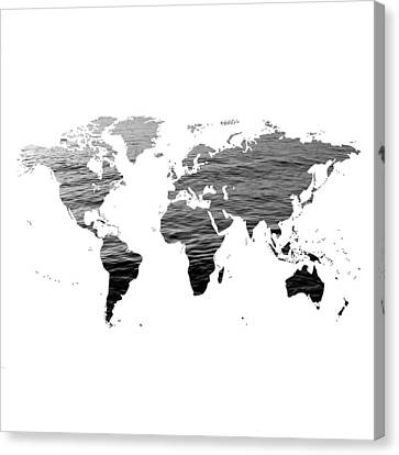 World Map - Ocean Texture - Black And White Canvas Print by Marianna Mills
