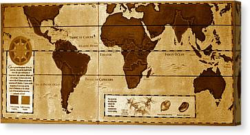 World Map Of Coffee Canvas Print
