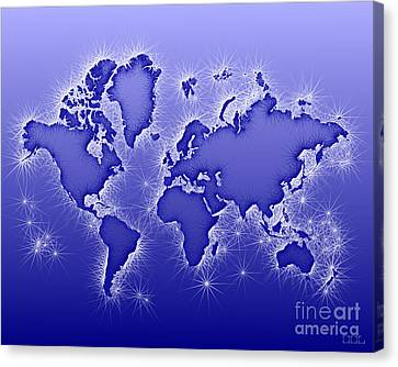 World Map Opala In Blue And White Canvas Print