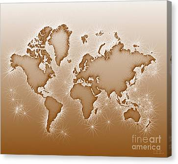 World Map Opala In Brown And White Canvas Print