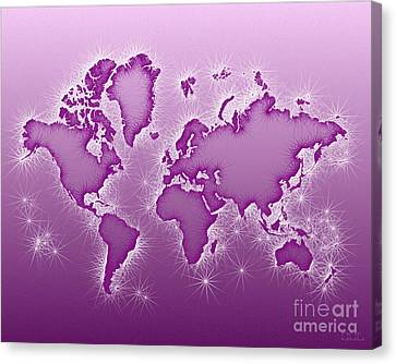 World Map Opala In Purple And White Canvas Print