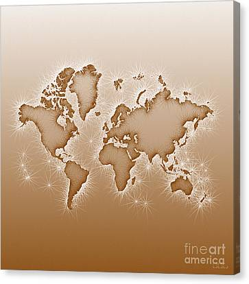 World Map Opala Square In Brown And White Canvas Print
