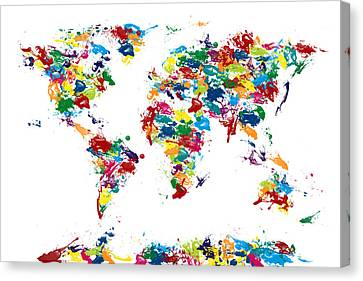 World Map Paint Drops Canvas Print by Michael Tompsett
