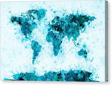 World Map Paint Splashes Blue Canvas Print by Michael Tompsett