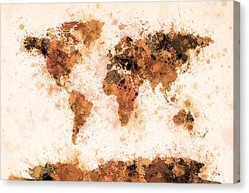 World Map Paint Splashes Bronze Canvas Print